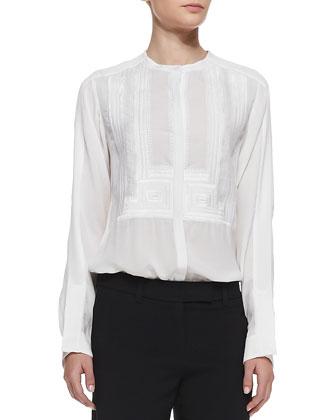Davi Tonal Embroidered Silk Blouse & Woods Cuffed Crepe Gaucho Pants