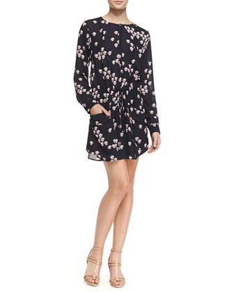 Simona Falling Iris Printed Dress