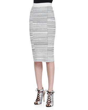 Margo Contrast-Collar Knit Sweater & Lyons Striped Ponte Pencil Skirt