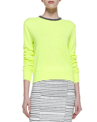 Margo Contrast-Collar Knit Sweater