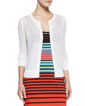 Rose See-Through Knit Cardigan, White