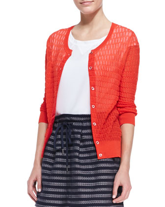 Rose See-Through Knit Cardigan, Bright Red