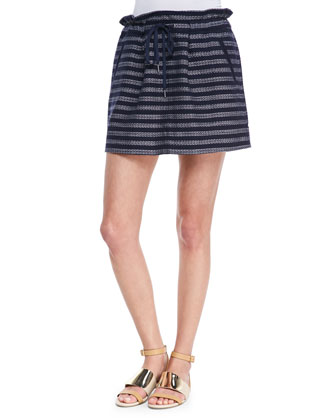 Dalea Pleated Silk Tweed Skirt