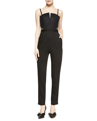 Structured Bustier Skinny-Leg Jumpsuit
