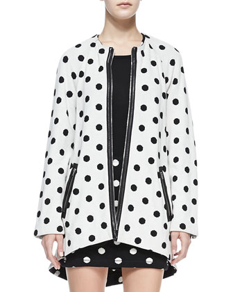 Collarless Dotted Zip Coat
