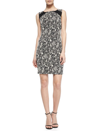 Thalia Paisley-Print Fitted Dress