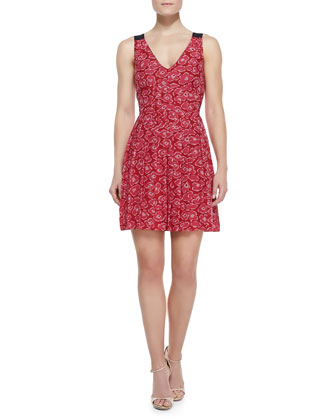 Cas Print-Jacquard V-Neck Dress
