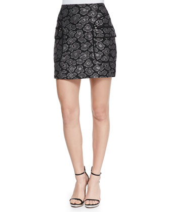 Cas Metallic Jacquard Short Skirt