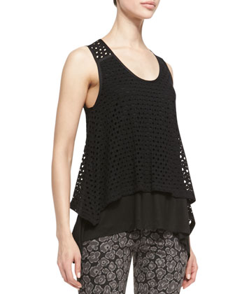 Yuki Sleeveless Layered Eyelet Top & Heather Skinny Jacquard Pants