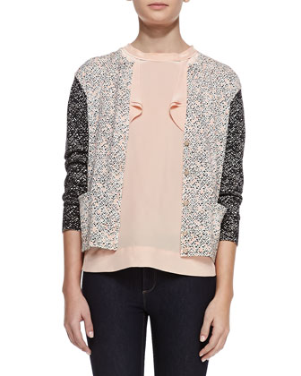 Tweed-Back Printed Cardigan & Sleeveless Side-Ruffle Silk Blouse