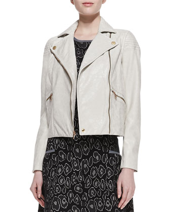 Avery Crackled Cropped Leather Jacket & Cassidy Solid-Trim Jacquard Dress