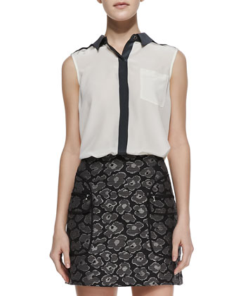 Frances Contrast-Trim Silk Blouse