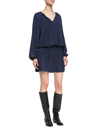 Paris Blouson Drop-Skirt Dress
