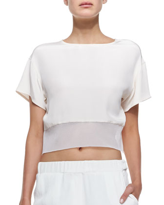 Antoni Net-Hem Crop Top & Ara Stretch-Waist Straight Pants