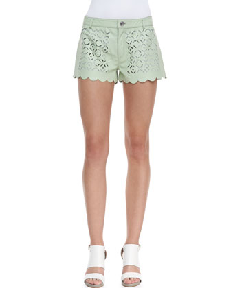Tondero Scalloped Cutout Leather Shorts