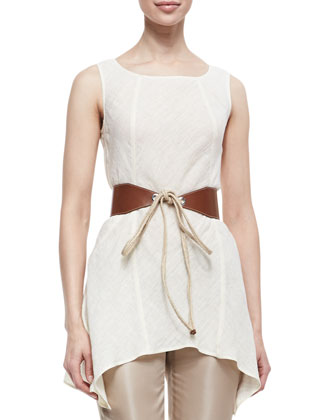 Lazzar Linen-Blend Topper Jacket, Isadora Sleeveless Ruffle Hem Tunic & ...