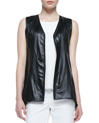 Lambskin Leather Vest with Georgette Back