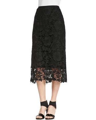 Caralyn Wrap-Bow Blouse & Maura Over-the-Knee Lace Skirt