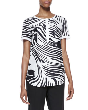 Shari Short Sleeve Zebra-Print Top, Black/White