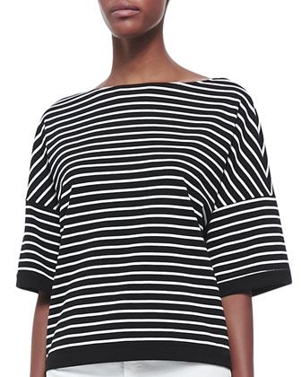 Elbow Sleeve Horizontal Striped Top, Black/White