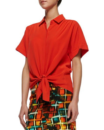 Elodie Short-Sleeve Silk Blouse & Modern Pencil Hologram-Print Skirt