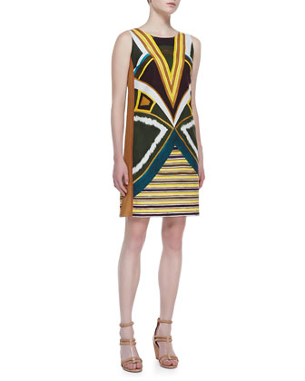 Drita Sleeveless Boho-Print Dress, Ficus/Multicolor