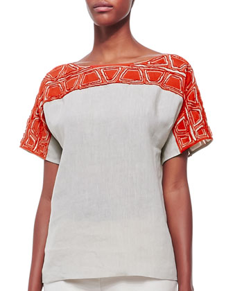 Layton Short-Sleeve Embroidered Top
