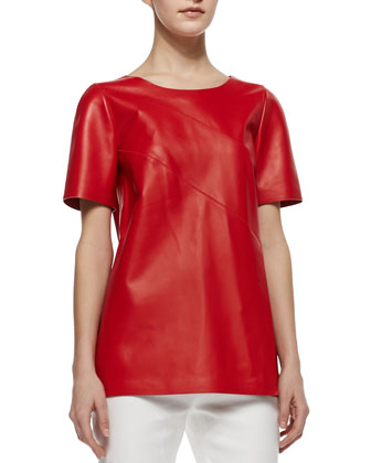 Amberlyn Short-Sleeve Leather Top, Salsa