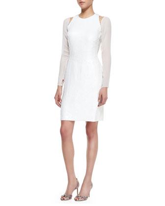 Long-Sleeve Split-Shoulder Dress