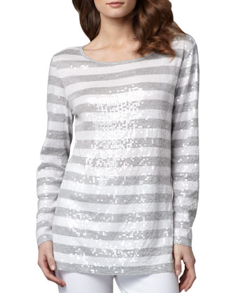 Sequined Striped Tunic, Women's