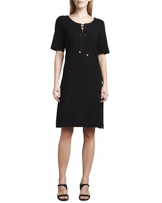 Pique Lace-Up Dress, Petite