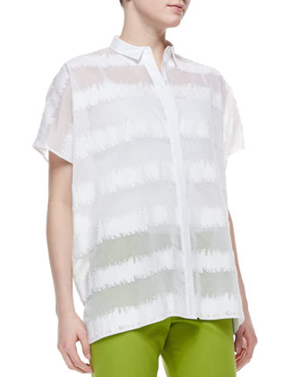 Salma Short-Sleeve Static Blouse & Bleecker Cropped Pants