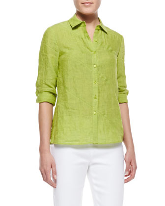Celestine 3/4-Sleeve Linen Blouse & Metro Stretch Bleecker Cropped Pants