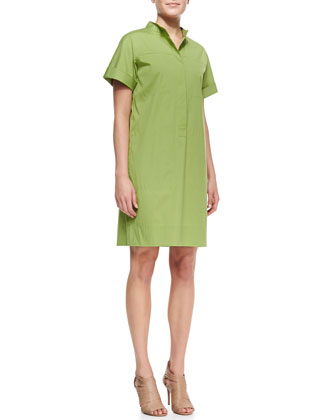 Phoebe Short-Sleeve Shirtdress w/Multiple Pockets
