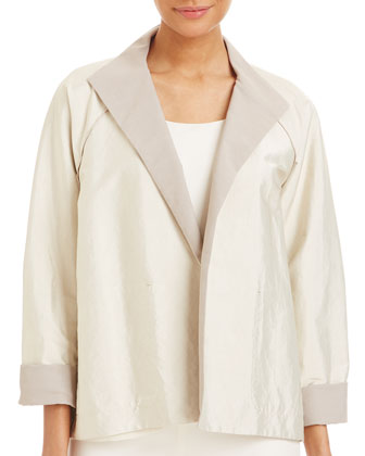 Valeria Long Sleeve Topper Jacket, Oyster/Papyrus
