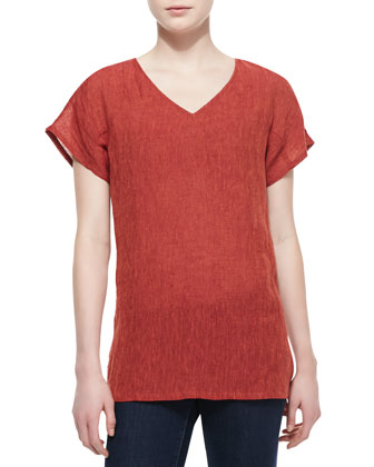 Ara Linen-Blend Short-Sleeve Top