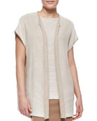 Short-Sleeve Oversized Open-Front Cardigan, Pumice/White