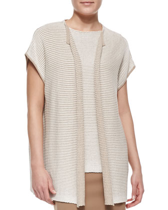 Short-Sleeve Oversized Open-Front Cardigan, Two-Tone Stripe-Knit ...