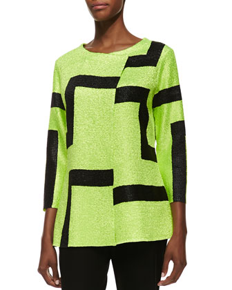 3/4-Sleeve Abstract Modern Jacket, Petite