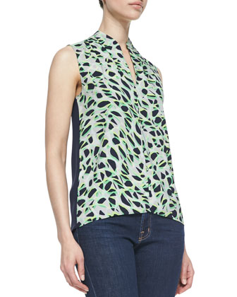 Esme Sleeveless Pebbleweave Blouse