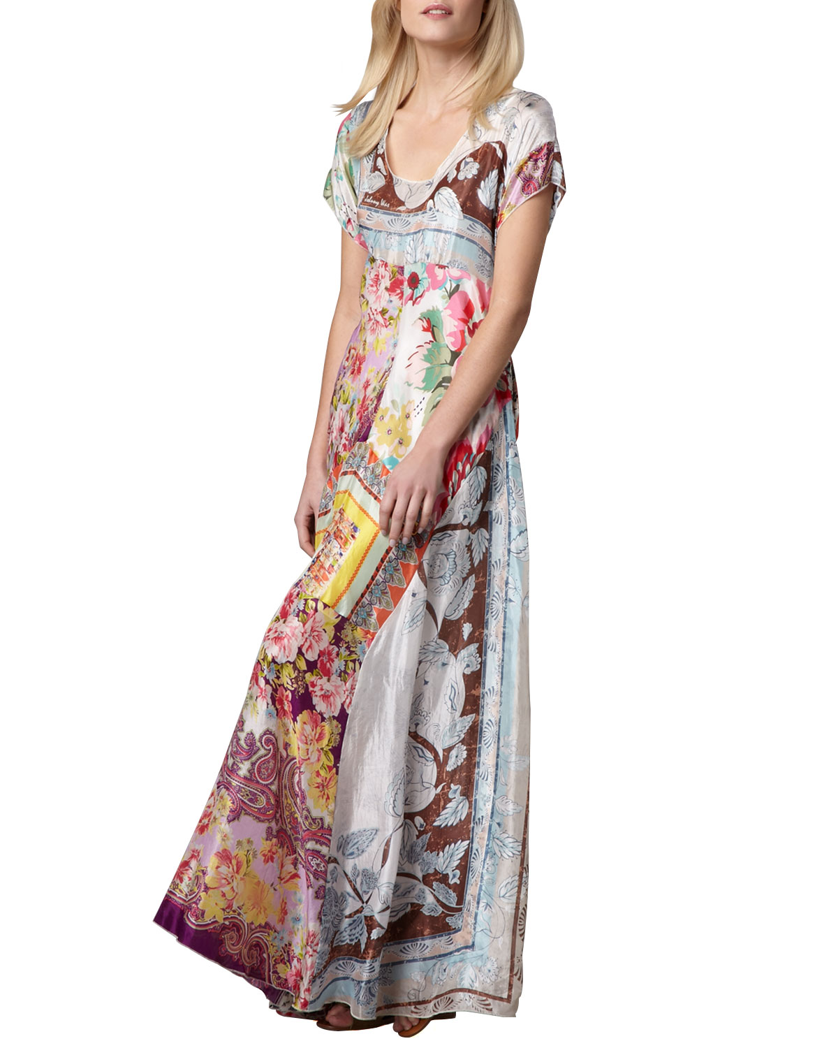 Printed Georgette Maxi Dress, Womens   Johnny Was Collection   Multi (2X
