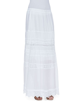 Trim-Inset Georgette Maxi Eyelet Skirt