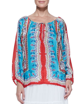 Talasi Silk Long-Sleeve Blouse & Trim-Inset Georgette Eyelet Skirt