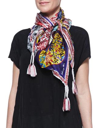 Asymmetric Georgette V-Neck Tunic & Patchwork Silk Scarf, Women's