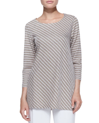 Striped-Knit 3/4-Sleeve Tunic