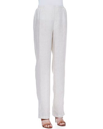 Tissue Linen Straight-Leg Pants, Women's