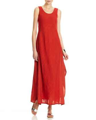 Angie Linen Gauze Sleeveless Long Dress, Persimmon
