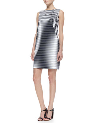 Sleeveless Striped Dress with Fashion Pockets