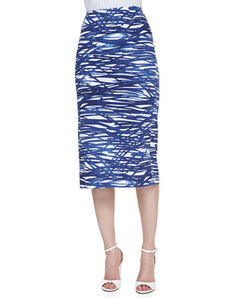 Dayna River Ripples Pencil Skirt