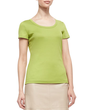 Cotton-Stretch Basic Tee, Parakeet
